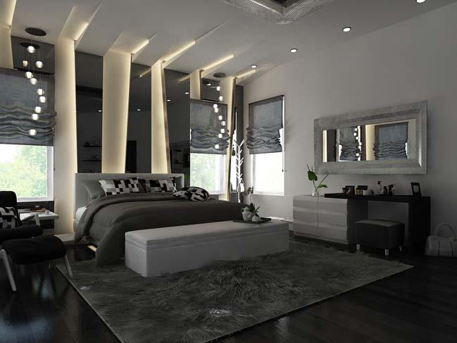 Dormitor modern iluminat